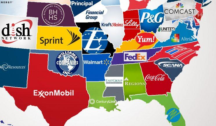 Map The largest company in every state