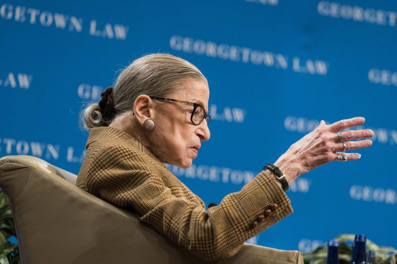 WASHINGTON, DC - FEBRUARY 10: U.S. Supreme Court Justice Ruth Bader Ginsburg participates in a discussion at the Georgetown University Law Center on February 10, 2020 in Washington, DC. Justice Ginsburg and U.S. Appeals Court Judge McKeown discussed the 19th Amendment which guaranteed women the right to vote which was passed 100 years ago. (Photo by Sarah Silbiger/Getty Images)