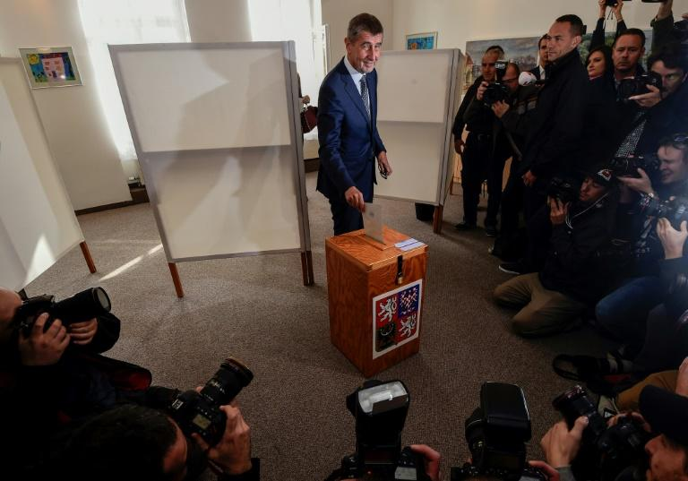 Czech billionaire Andrej Babis, chairman of the anti-migrant ANO movement, casts his ballot at a polling station near Prague in an election that could see the 'Czech Trump' take power