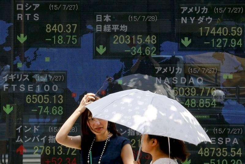 Women stand in front of board showing market indices in Tokyo