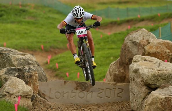 HADLEIGH, ESSEX - AUGUST 08:  A rider from Germany in action during a Mountain Bike training session on Day 12 of the London 2012 Olympic Games at Hadleigh Farm on August 8, 2012 in Hadleigh, England.  (Photo by Phil Walter/Getty Images)