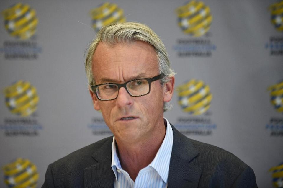 Football Federation Australia (FFA) chief executive David Gallop speaks at a press conference in Sydney on September 10, 2015 (AFP Photo/Peter Parks)