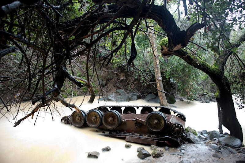 A Syrian tank lies turned over in the Hermon Stream in the Banias Nature Reserve on the western edge of the Israeli-occupied Golan Heights, February 27, 2019. Israel captured the area, a former demilitarized zone, in the 1967 Six Day War. (Photo: Ronen Zvulun/Reuters)