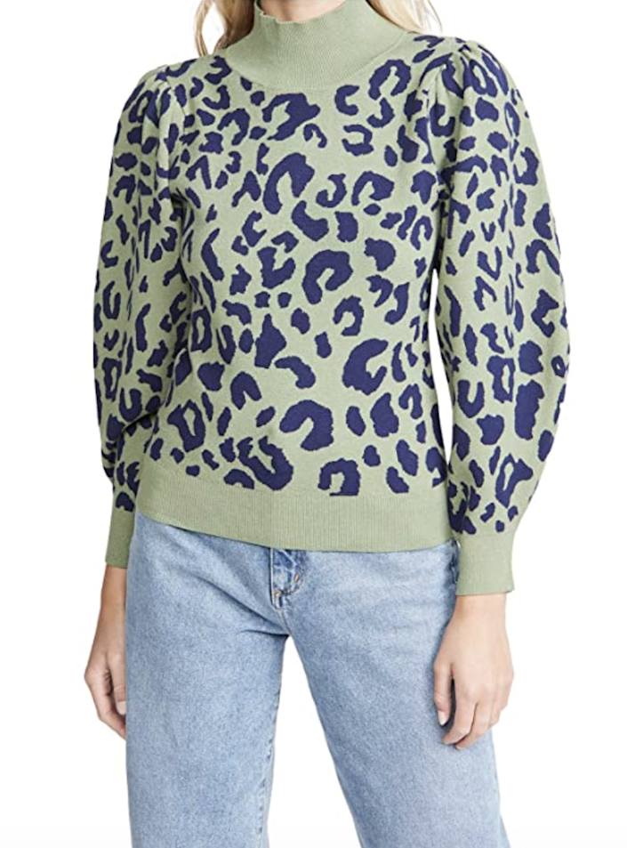 """Nobody needs another brown leopard-print sweater…but how can you say no to a sage-green one? $138, Amazon. <a href=""""https://www.amazon.com/525-Womens-Leopard-Pullover-SageMulti/dp/B08GD12BMV?s=shopbop&ref_=sb_ts"""" rel=""""nofollow noopener"""" target=""""_blank"""" data-ylk=""""slk:Get it now!"""" class=""""link rapid-noclick-resp"""">Get it now!</a>"""