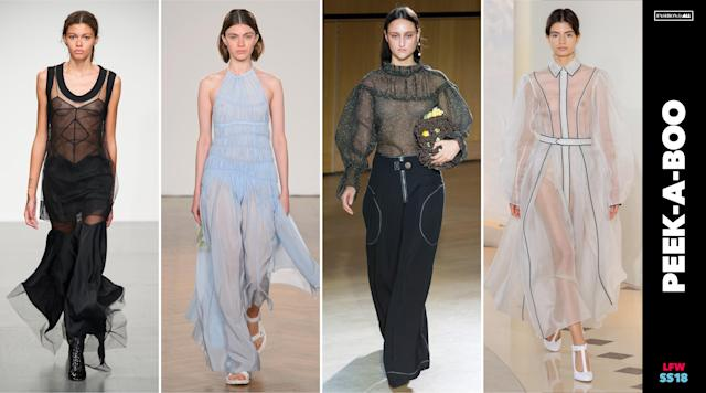 <p><i>Sheer, see-through attire was a popular choice on the LFW runway. (Photo: ImaxTree, Art: Quinn Lemmers for Yahoo Lifestyle) </i></p>