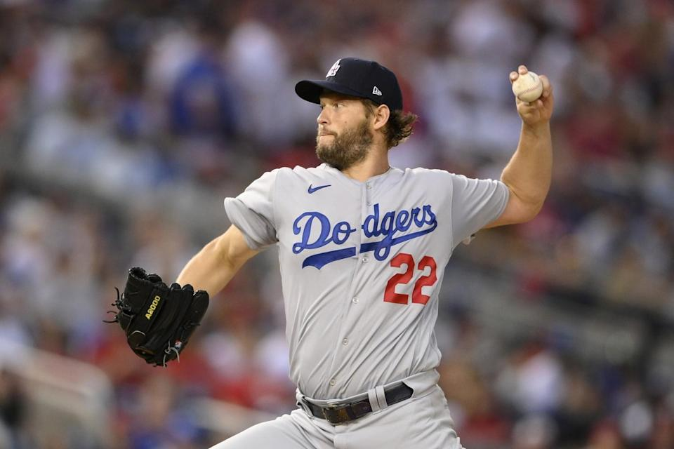 Dodgers starting pitcher Clayton Kershaw delivers during the fourth inning against the Nationals on July 3, 2021.
