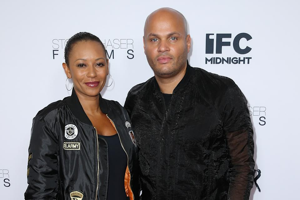"""WESTWOOD, CA - JUNE 15:  Singer Mel B and husband Stephen Belafonte attend the premiere of IFC Midnight's """"Intruder"""" at Regency Bruin Theater on June 15, 2016 in Westwood, California.  (Photo by Phillip Faraone/Getty Images)"""