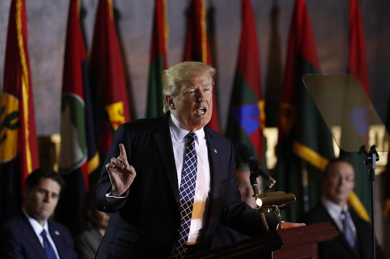 President Donald Trump speaks on Capitol Hill in Washington on April 25, 2017, during the United States Holocaust Memorial Museum's National Days of Remembrance ceremony. (Photo: Carolyn Kaster/AP)