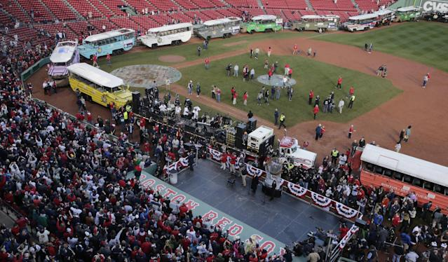 Duck boats line up in Fenway Park in advance of the Boston Red Sox's championship parade in celebration of the baseball team's World Series win, Saturday, Nov. 2, 2013, in Boston. (AP Photo/Charles Krupa)
