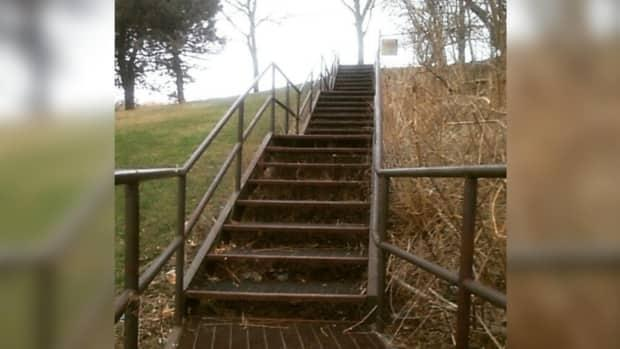 The top of these steps marks the peak of the formerly known, Suicide Hill in Little River Park. Windsor's City Council endorsed its new name of 'Hope Hill' on Monday Sept. 27. (Submitted by Kevan Donais - image credit)