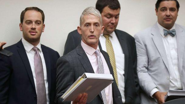 PHOTO: House Oversight and Government Reform Committee Chairman Trey Gowdy arrives for a joint hearing of his committee and the House Judiciary Committee on Capitol Hill July 12, 2018 in Washington. (Chip Somodevilla/Getty Images)
