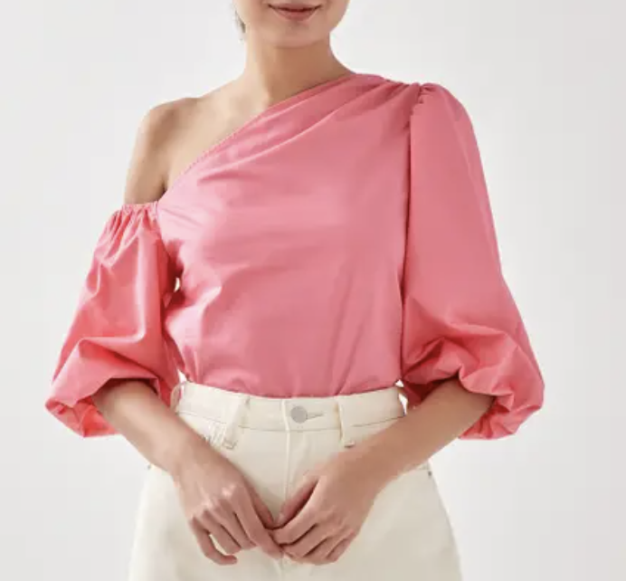 PHOTO: Love, Bonito. Berrie Asymmetrical Puff Sleeve Top