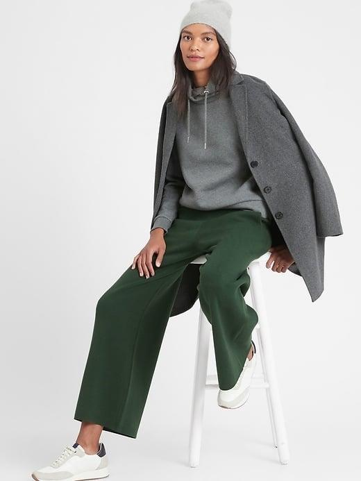 <p>The <span>Banana Republic Wide-Leg Sweater Pant</span> ($110) comes in four colors - including camel and this rich forest green - and there's a petite-length, too. </p>