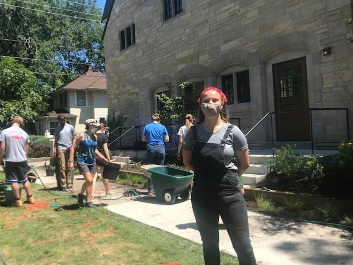 Recent New Trier High School graduate Iona McQuiston, 17, organized a landscaping project at the Women's Club of Wilmette in July. (Jonah Meadows/Patch)