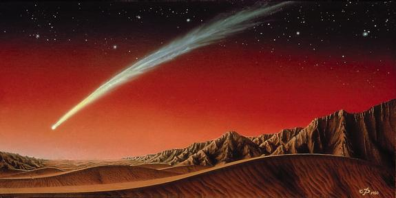 This illustration of a bright comet over Mars was created by artist Kim Poor.