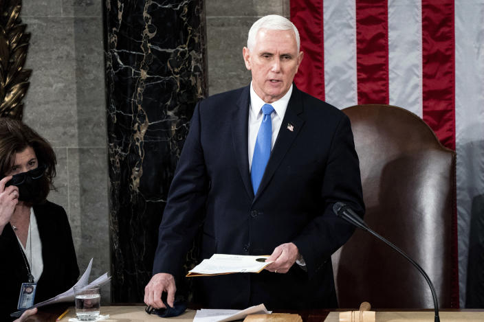 Vice President Mike Pence presides as a joint session of Congress convenes to certify the Electoral College vote on Wednesday, Jan. 6, 2021. (Erin Schaff/The New York Times)