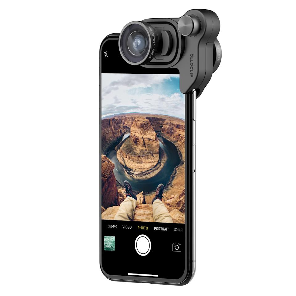 """<p><strong></strong></p><p>olloclip.com</p><p><strong>$99.99</strong></p><p><a rel=""""nofollow"""" href=""""https://www.olloclip.com/products/mobile-photography-box-set-iphone-x"""">Shop Now</a></p><p>This gift set by Olloclip is a great gift for iPhone photographers. Designed to work with the iPhone X, it includes a trio of snap-on lenses, which will take the phone's already excellent camera to a whole new level. </p><p>The set of lenses includes a fisheye, a super-wide, and a macro. Olloclip offers an <a rel=""""nofollow"""" href=""""https://www.olloclip.com/shop/shop/slim-case-iphone-x/"""">optional slim protective case</a> that's compatible with them. </p>"""