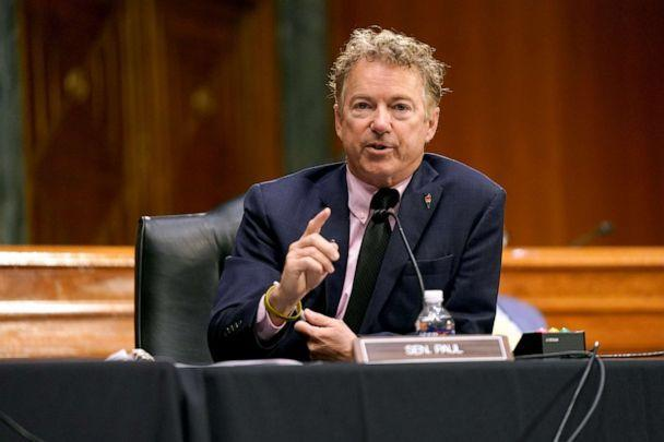 PHOTO: Sen. Rand Paul questions Dr. Anthony Fauci, director of the National Institute of Allergy and Infectious Diseases, during a Senate Health, Education, Labor and Pensions Committee hearing, May 11, 2021, in Washington, DC. (Greg Nash/Getty Images)
