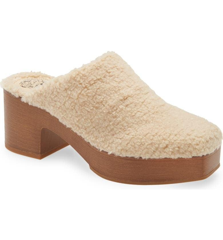 <p>You'll surely get compliments on these fun <span>Vince Camuto Rimindel Faux Shearling Platform Mules</span> ($110-$111). The fuzzy top and cute heel is just perfect.</p>