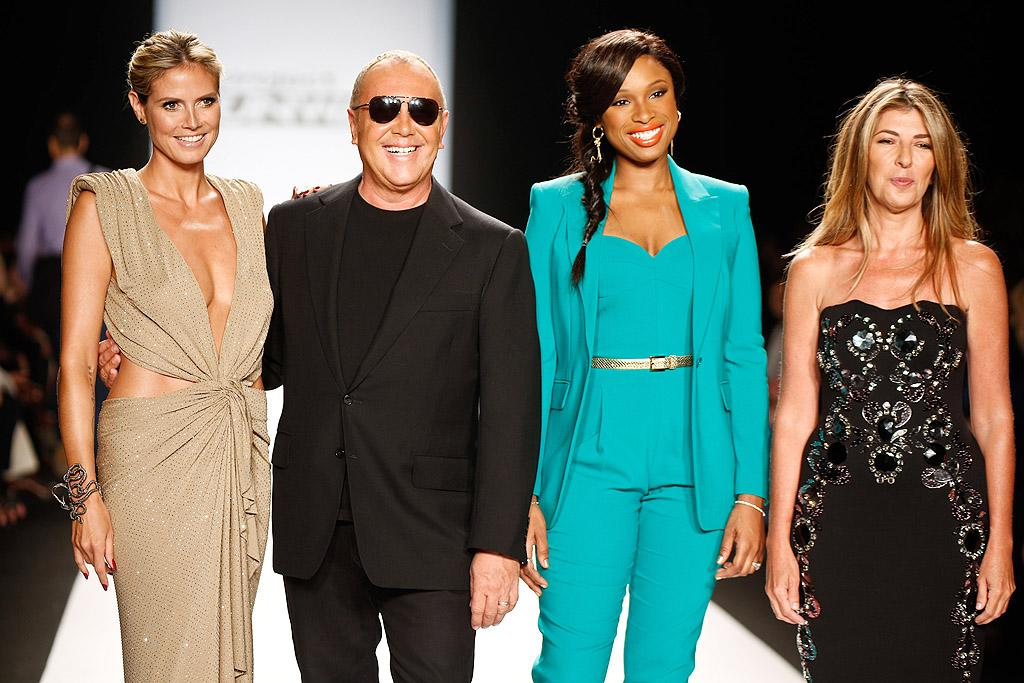 "A newly single Heidi Klum joined fellow ""Project Runway"" judges Michael Kors, Jennifer Hudson, and Nina Garcia at the ""Project Runway"" fashion show on Friday, where Season 10 contestants got a chance to debut their creations to the world. (9/7/2012)"