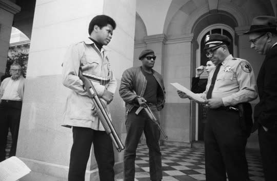 "<p>The Panthers <a href=""https://www.marxists.org/history/usa/workers/black-panthers/"">really took off in Oakland, Calif</a>., in the fall of 1966, spurred by six men including the now-legendary Huey P. Newton and Bobby Seale. Within a year, the group staked out a ""<a href=""https://www.marxists.org/history/usa/workers/black-panthers/1966/10/15.htm"">Ten-Point Program""</a> of demands, with a focus on equal education and housing, an end to police brutality, an exemption from military service for black people, and an end to capitalism. But the real shocker was that, in a move that at the time was perfectly legal, the group took up arms and began ""policing the police"" on the Oakland streets, pushing future president Ronald Reagan, then the new Republican governor of California, to <a href=""http://theweek.com/articles/582926/how-ronald-reagan-learned-love-gun-control"">denounce them and call for gun control</a>. (A Republican calling for gun control?) (<i>Photo: Corbis)</i></p>"