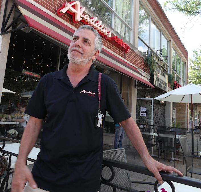 Marwan Lahham owner of the Aladdin's Eatery in Highland Square talks about staffing issues and getting workers outside of his restaurant in Akron on Wednesday June 9, 2021.