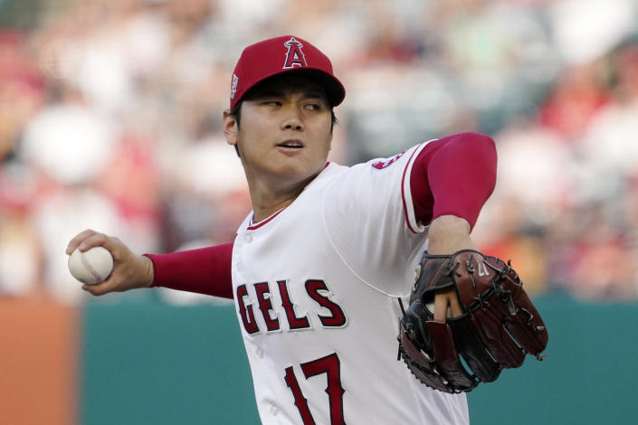 Los Angeles Angels starting pitcher Shohei Ohtani throws to the plate during the first inning of a baseball game against the Colorado Rockies Monday, July 26, 2021, in Anaheim, Calif. (AP Photo/Mark J. Terrill)