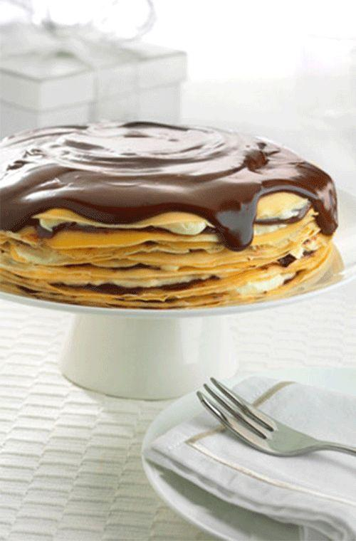 """We think every day should be Pancake Day, especially if it means indulging in this amazing <a rel=""""nofollow"""" href=""""http://au.lifestyle.yahoo.com/food/recipes/recipe/-/16118265/chocolate-hazelnut-craepe-cake-with-chocolate-sauce-pancake-recipe/"""">chocolate hazelnut crêpe cake with chocolate sauce</a>."""
