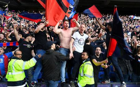 Soccer Football - Premier League - Crystal Palace vs Brighton & Hove Albion - Selhurst Park, London, Britain - April 14, 2018 Crystal Palace fans celebrate after the match REUTERS/Dylan Martinez