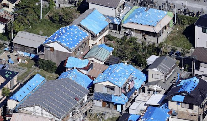 Damaged houses after Faxai hit Kyonan near Tokyo. Photo: Kyodo