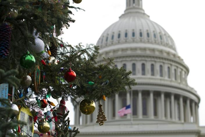 """<span class=""""element-image__caption"""">The Capitol Christmas tree decorations before the holidays.</span> <span class=""""element-image__credit"""">Photograph: José Luis Magaña/AP</span>"""