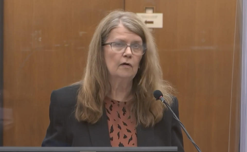 In this screen grab from video, former Minneapolis police officer Derek Chauvin mother Carolyn Pawlenty is seen during victim impact statements as Hennepin County Judge Peter Cahill presides over sentencing, Friday, June 25, 202 at the Hennepin County Courthouse in Minneapolis. Chauvin faces decades in prison in the death of George Floyd. (Court TV, via AP, Pool)