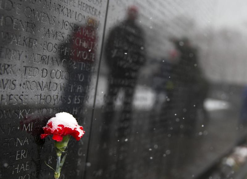 A snow-covered carnation sits at the Vietnam Veterans Memorial in Washington, Tuesday, March 25, 2014. The calendar may say it's spring, but the mid-Atlantic region is seeing snow again. The National Weather Service has issued a winter weather advisories for much of the region Tuesday. The advisories warn that periods of snow could make travel difficult, with slippery roads and reduced visibility. (AP Photo/ Evan Vucci)