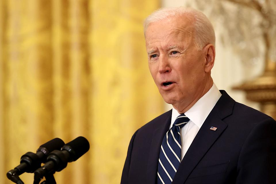President Joe Biden talks to reporters during the first news conference of his presidency in the East Room of the White House on March 25, 2021 in Washington, DC. (Chip Somodevilla/Getty Images)