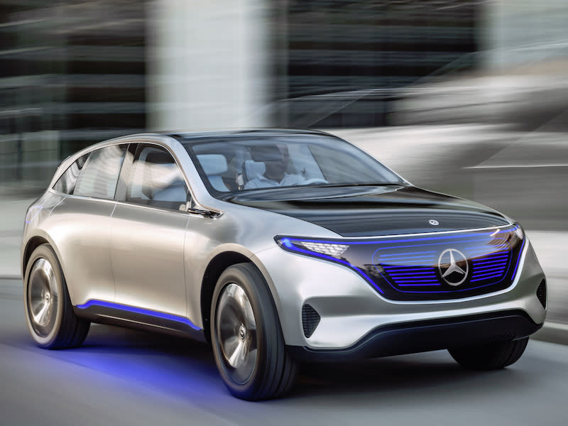 Mercedes previews first of eq electric cars with suv for Mercedes benz eq release date