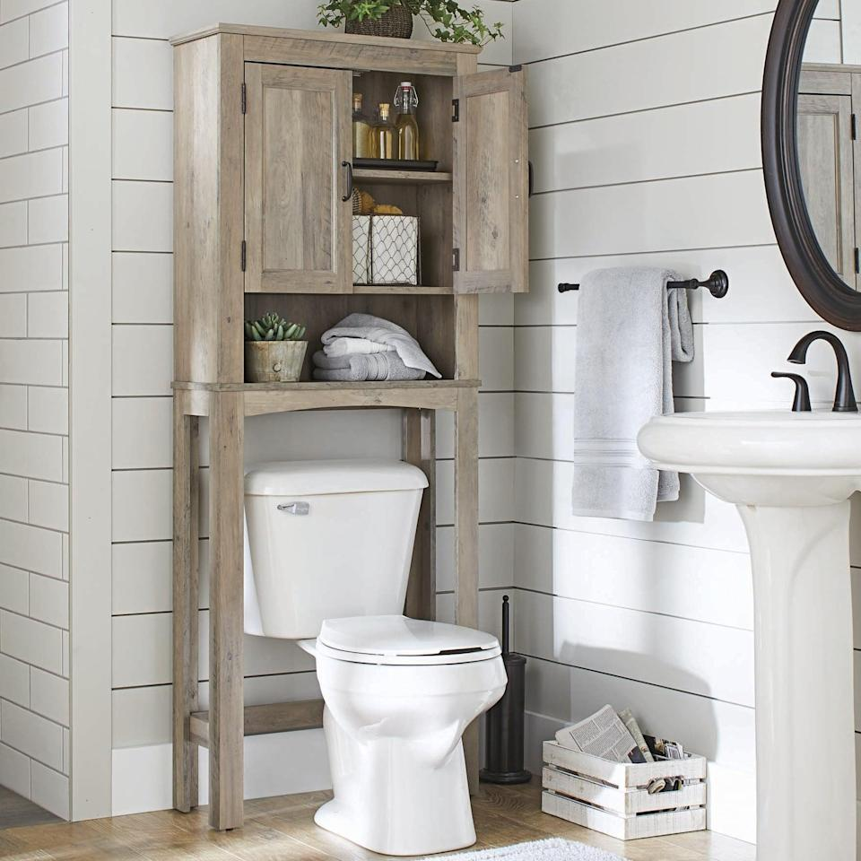 "<p>If your bathroom sink doesn't have storage, get this <a href=""https://www.popsugar.com/buy/Better-Homes-Gardens-Over--Toilet-Bathroom-Space-Saver-403608?p_name=Better%20Homes%20and%20Gardens%20Over-the-Toilet%20Bathroom%20Space%20Saver&retailer=walmart.com&pid=403608&price=78&evar1=casa%3Aus&evar9=45654164&evar98=https%3A%2F%2Fwww.popsugar.com%2Fphoto-gallery%2F45654164%2Fimage%2F45654524%2FBetter-Homes-Gardens-Over--Toilet-Bathroom-Space-Saver&list1=shopping%2Corganization%2Chome%20organization%2Cbest%20of%202019%2Cbest%20of%202020&prop13=api&pdata=1"" class=""link rapid-noclick-resp"" rel=""nofollow noopener"" target=""_blank"" data-ylk=""slk:Better Homes and Gardens Over-the-Toilet Bathroom Space Saver"">Better Homes and Gardens Over-the-Toilet Bathroom Space Saver</a> ($78) to make up for it.</p>"