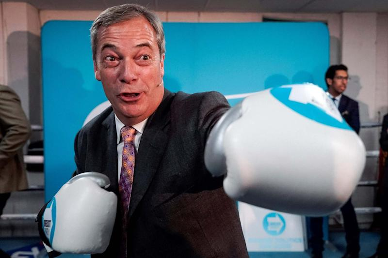 Brexit Party leader Nigel Farage poses for a photograph in boxing gloves: AFP via Getty Images