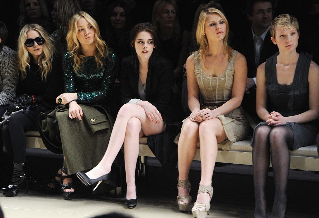"""The front row at Burberry Prorsum was A-list gold -- Mary-Kate Olsen, Kate Hudson, Kristen Stewart, Claire Danes, and """"Alice in Wonderland"""" actress Mia Wasikowska were among the stars at the London fall 2010 show. Dave M. Benett/<a href=""""http://www.gettyimages.com/"""" target=""""new"""">GettyImages.com</a> - February 23, 2010"""