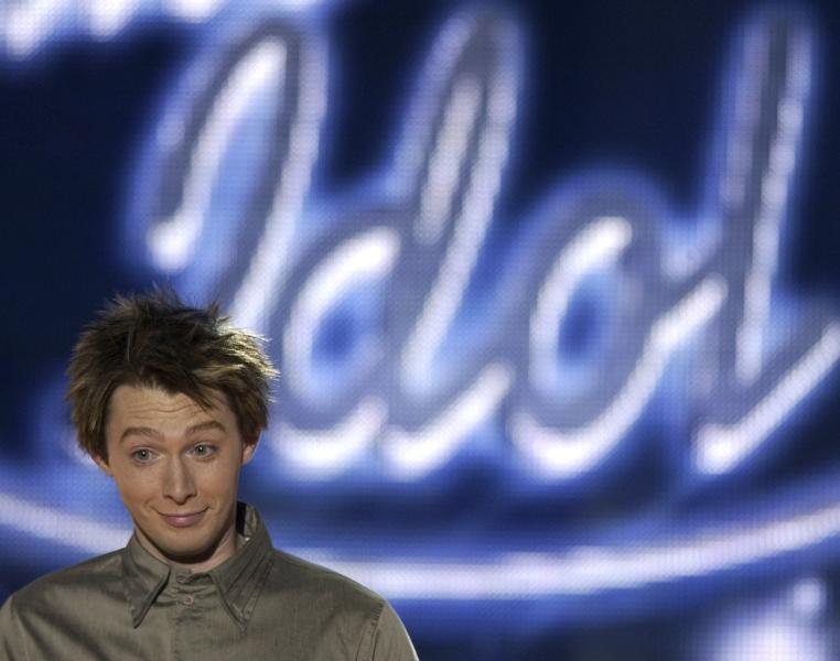 "Finalist Clay Aiken from North Carolina reacts to judges comments after his performance for the title of American Idol in Los Angeles, California in this May 20, 2003 file photo. Former ""American Idol"" singer Clay Aiken said on February 5, 2014 he will run for U.S. Congress as a Democrat in his home state of North Carolina, where he once worked as a special education teacher. REUTERS/Lucy Nicholson/Files (UNITED STATES - Tags: POLITICS)"