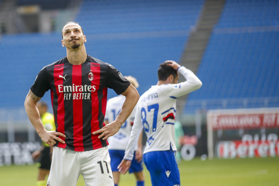 Zlatan Ibrahimovic is in potential hot water with both FIFA and UEFA for an alleged ownership stake in an online casino. (AP Photo/Antonio Calanni)