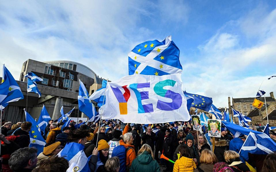Separatists attending a demonstration outside the Scottish Parliament in February this year - AFP