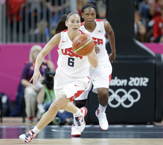 USA's Sue Bird (6) is followed by teammate Asjha Jones as she moves the ball up court during a preliminary women's basketball game against Turkey at the 2012 Summer Olympics, Wednesday, Aug. 1, 2012, in London. (AP Photo/Eric Gay)
