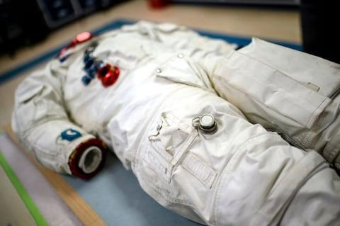 The space suit of Michael Collins at the National Air and Space Museum in DC - Credit: GETTY