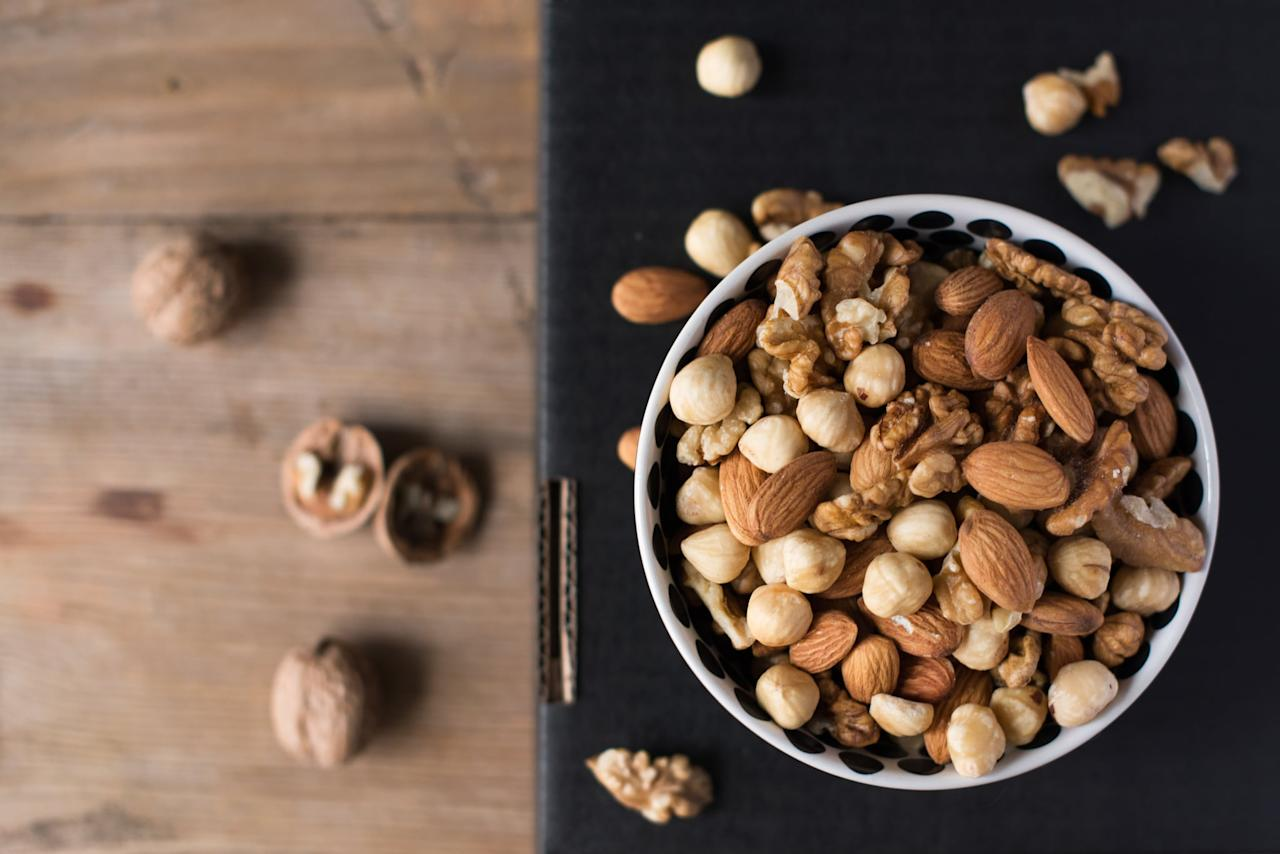 "<p>""My favorite go-to low-carb snack is a handful of mixed nuts,"" said Megan Casper, MS, RDN, of <a href=""https://www.nourishedbite.com/"" class=""ga-track"" data-ga-category=""Related"" data-ga-label="" https://www.nourishedbite.com/"" data-ga-action=""In-Line Links"">Nourished Bite Nutrition</a> in LA. Nuts have some carbs, but they're mostly from heart- and gut-healthy fiber, Megan explained. Meanwhile, the healthy fats and protein in them help keep you full for longer.</p>"