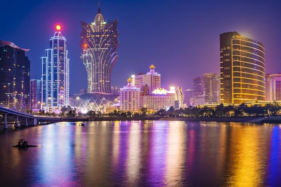 Macau's skyline seen from the water.