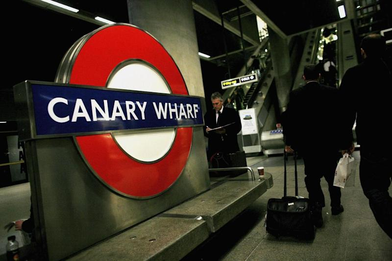 The 22-year-old stood outside Canary Wharf station (Getty Images)