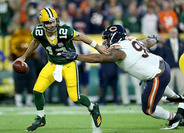Aaron Rodgers cast off the Bears in a miracle performance. (Getty)