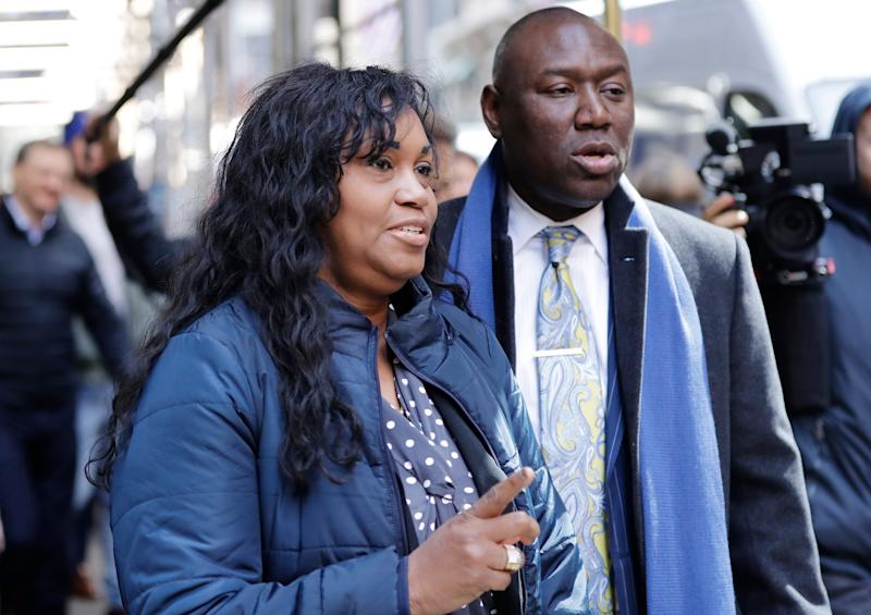 Tamara Lanier, featured above, spoke to the media on Wednesday to speak about the lawsuit and Harvard's use of the photos of her alleged ancestor. (Photo: ASSOCIATED PRESS)
