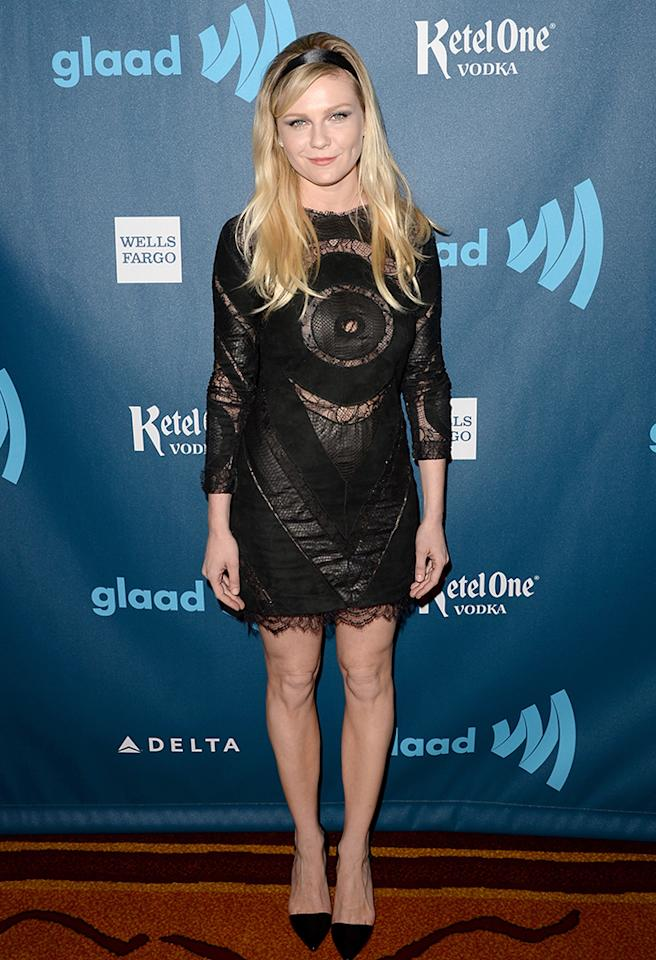 LOS ANGELES, CA - APRIL 20:  Actress Kirsten Dunst arrives at the 24th Annual GLAAD Media Awards presented by Ketel One and Wells Fargo at JW Marriott Los Angeles at L.A. LIVE on April 20, 2013 in Los Angeles, California.  (Photo by Jason Merritt/Getty Images for GLAAD)