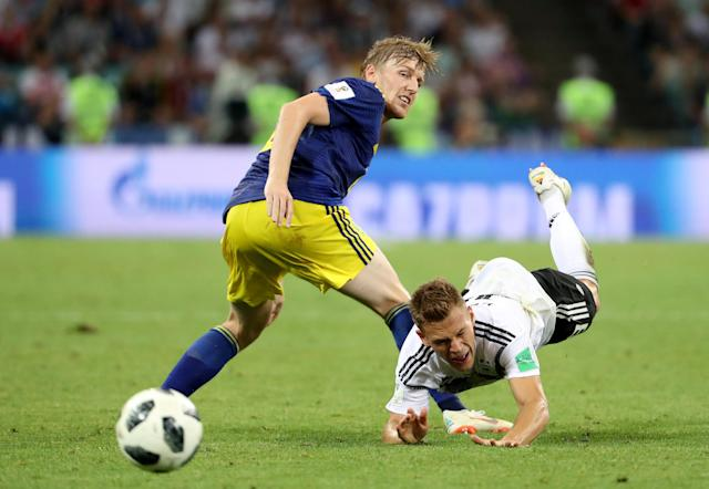 Soccer Football - World Cup - Group F - Germany vs Sweden - Fisht Stadium, Sochi, Russia - June 23, 2018 Germany's Joshua Kimmich in action with Sweden's Emil Forsberg REUTERS/Francois Lenoir